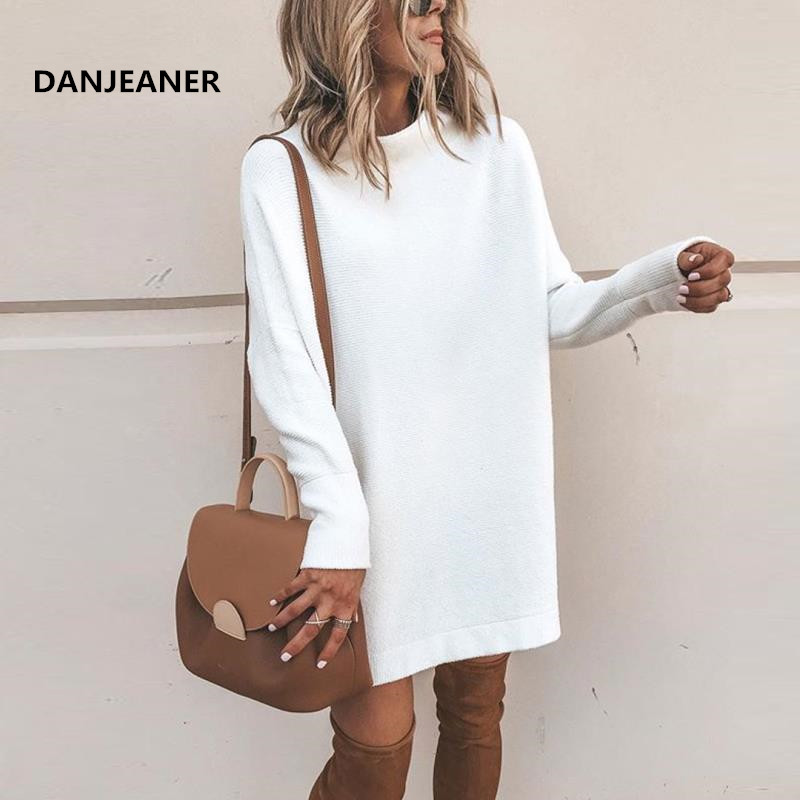 Danjeaner nova primavera gola alta sólida malha blusas vestido feminino manga longa fino streetwear pullovers camisola de grandes dimensões puxar