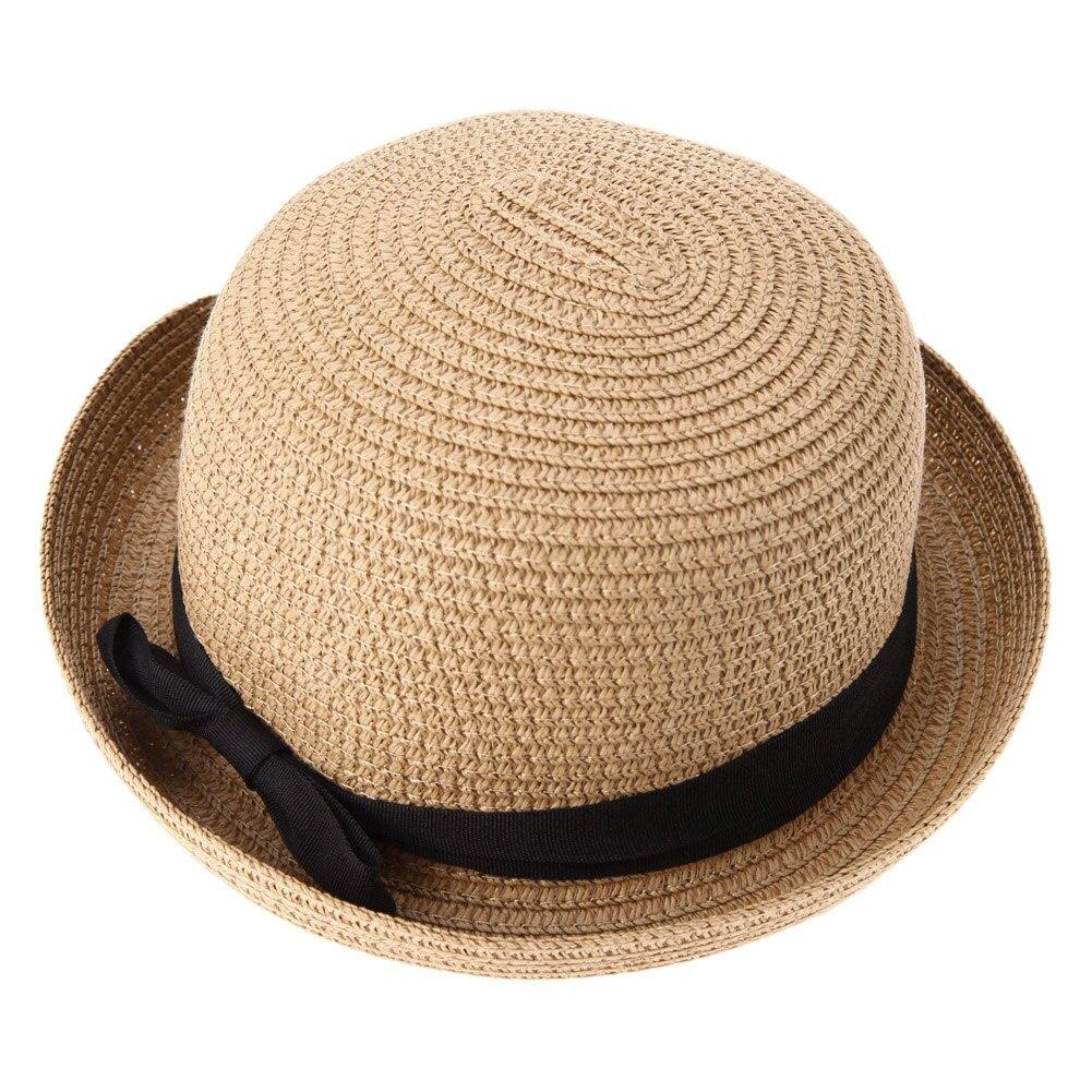 Wholesale Fashion Straw Lady Sun Hat Women Travel Outdoor Fold Spring  Summer Beach Hat Girls Casual Ribbon Round Flat Top Cap 331383a6dab7
