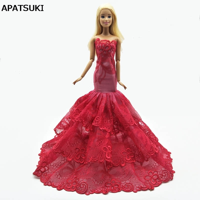 Fashion Mermaid Clothes For Barbie Fishtail Wedding Party Dress For Barbie  Doll Limited Collection Elegant Handmade Dress Gift bd5f9127f8a7