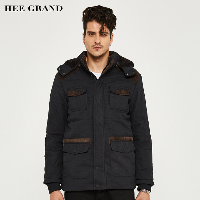 HEE GRAND Men Winter Thick Parkas Warm Hooded 2017 Hot Sale Solid Color Stand Collar Special Pockets Plus size M-3XL MWM1331