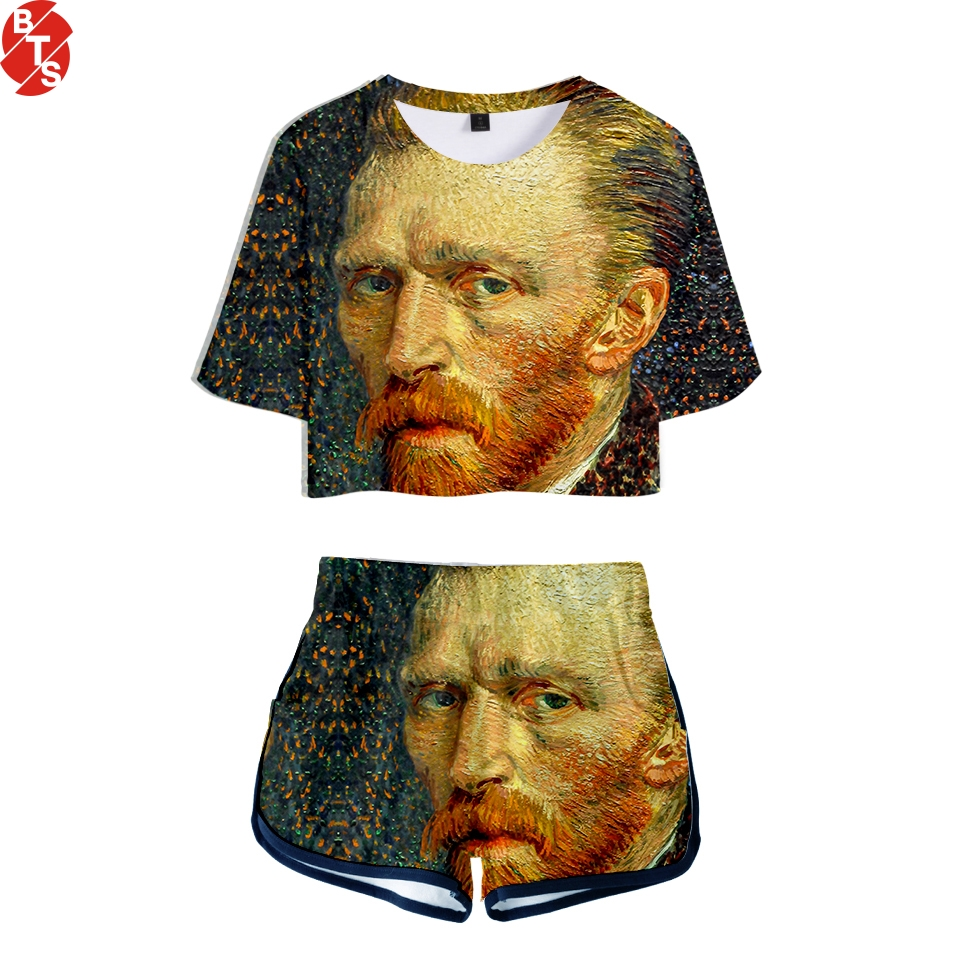 Van Gogh Two-piece New Summer Print T-shirt Cool Hot Games Fashion Ladies Sexy Nude Short-sleeved+Shorts Set 2018