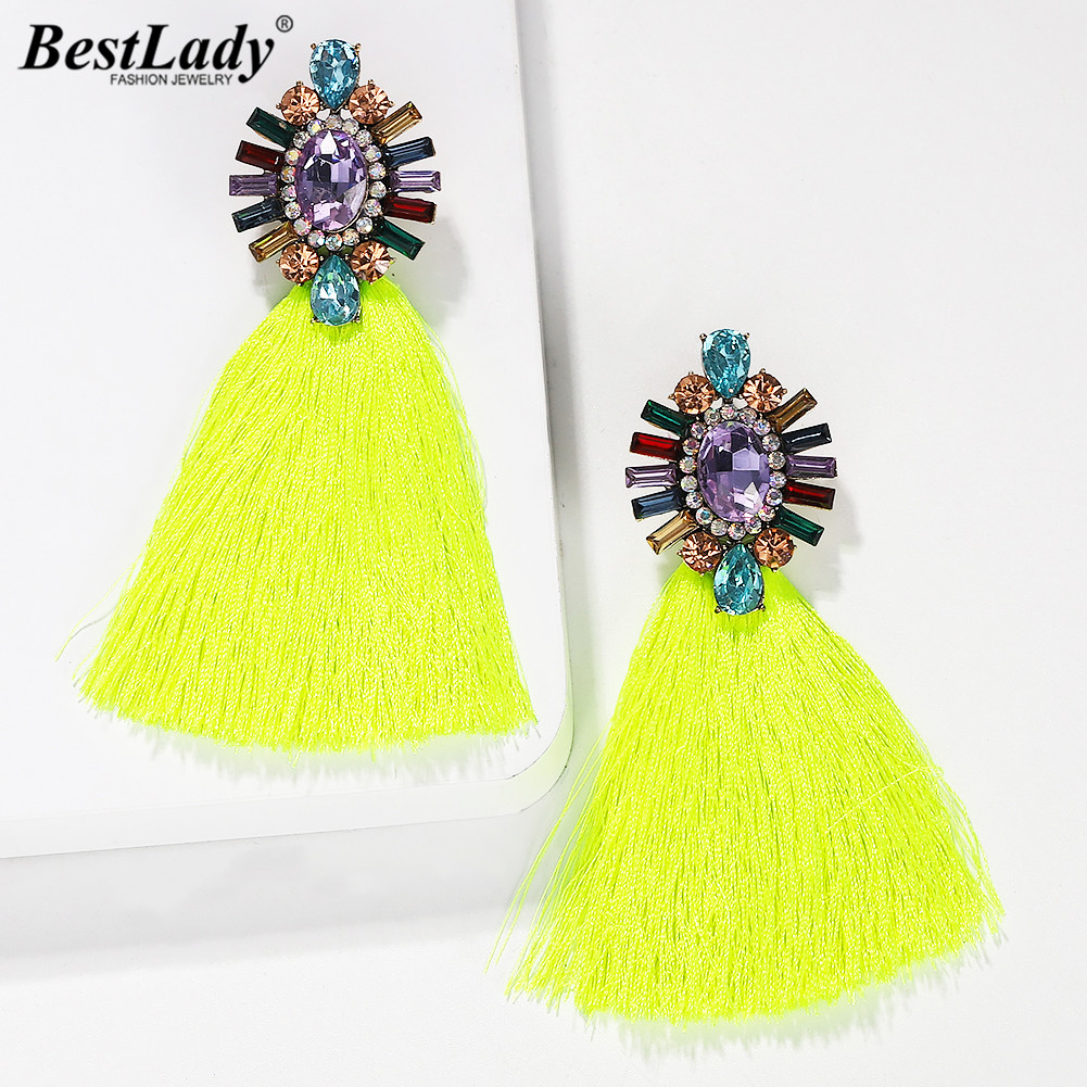 Best Lady Fashion Crystal Tassel Drop Earrings Girls Women Party Gifts Newly Bohemian Colorful Female Wedding Dangle Earrings