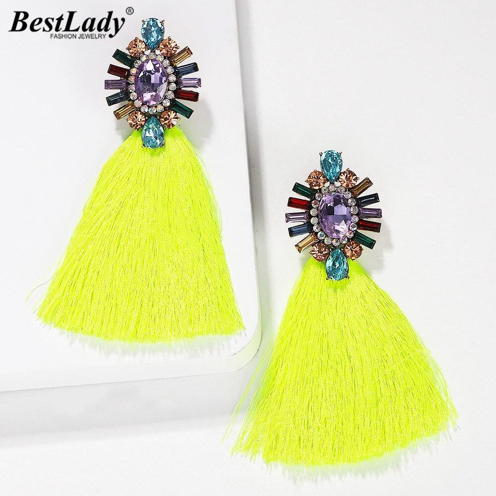 Best Lady Fashion Crystal Tassel Drop Earrings Girls Women Party Gifts Newly Bohemian Colorful Female Wedding Dangle Earrings