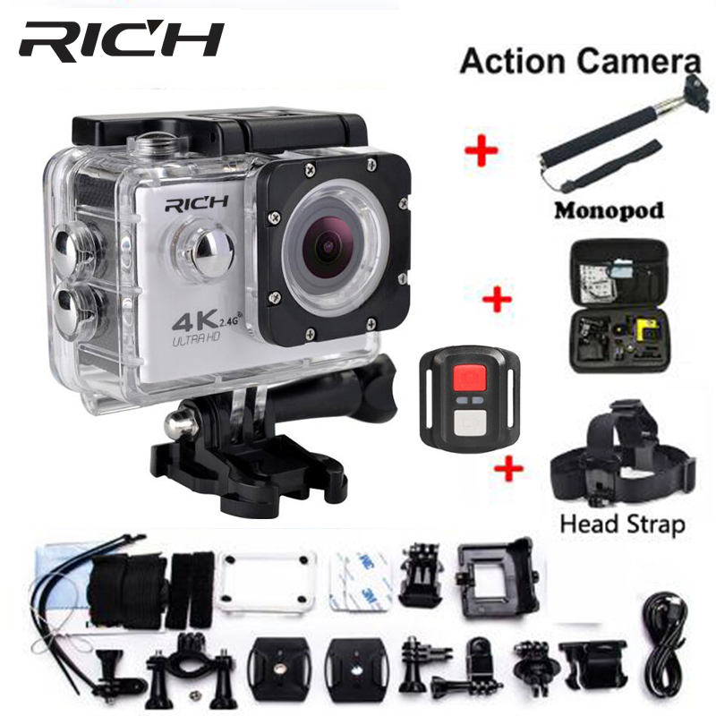 HD Action Camera wifi for go pro hero 4 Extreme Sports cam Video 1080P 30m Waterproof sports camrea Extra head strap+bag+Monopod image