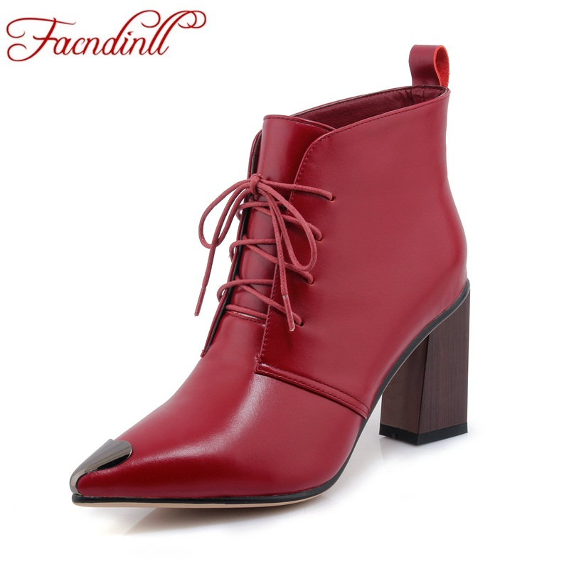 FACNDINLL shoes 2017 autumn winter women ankle boots sexy thick high heels pointed toe lace up shoes woman party riding boots facndinll women ankle boots autumn shoes handmade genuine leather high heels black sexy pointed toe brand shoes woman snow boots