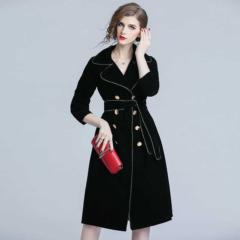 hot-selling professional sells get new 2019 New Autumn Winter Black Velvet Trench Coat Women Notched Collar Gold  Double-Breasted With Belt Thick Warm Trench Outwear