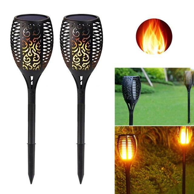 Tocha led com 96 lâmpadas, à prova d água, energia solar, para áreas externas, decoração para paisagem, para jardim