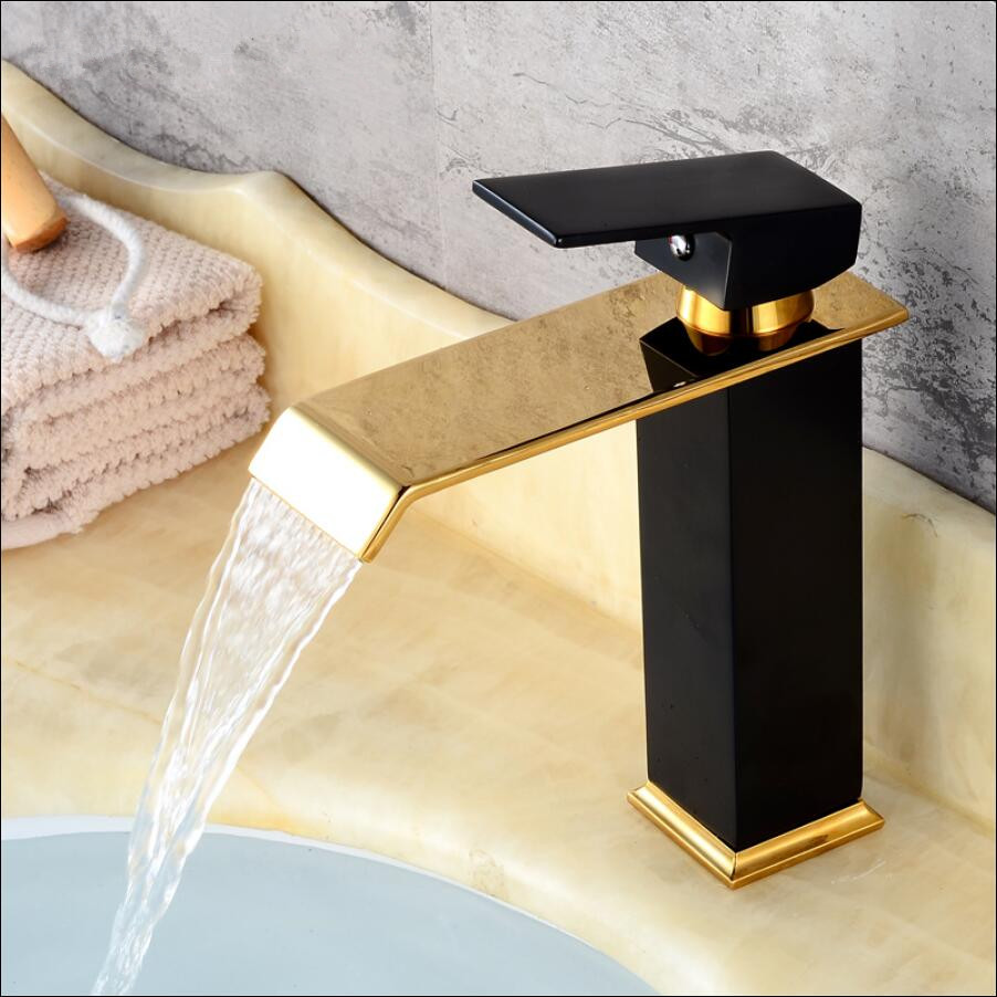 Gold and Black Basin faucet brass bathroom faucet single handle torneiras para pia de banheiro Wash