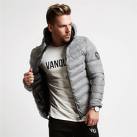 Fitness Man Winter Autumn Hoodies Sweatshirts Gyms Bodybuilding Hoody Zipper Down Jacket Men S Slim Pullover