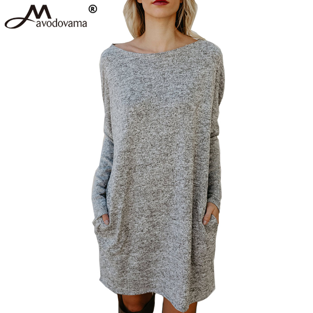 Avodovama M New Sexy Slash Neck Women Casual Dress Long Sleeve Pockets Loose Knitted Solid Dresses