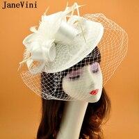 JaneVini Elegant Wedding White Hat Women Fascinators Birdcage Veil Big Bridal Hats Feather Ladies Headwear Wedding Accessories
