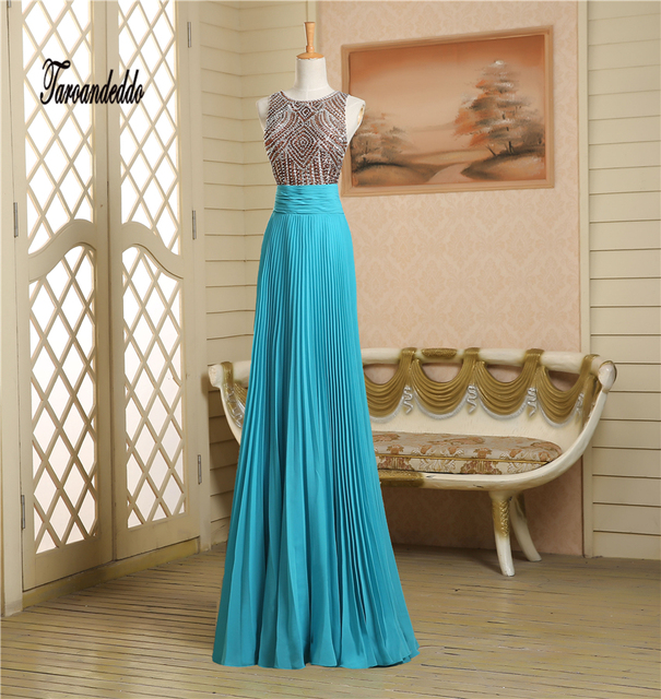 O neck Chocolate Color Crystals Beading See Through Crinkle Prom ...