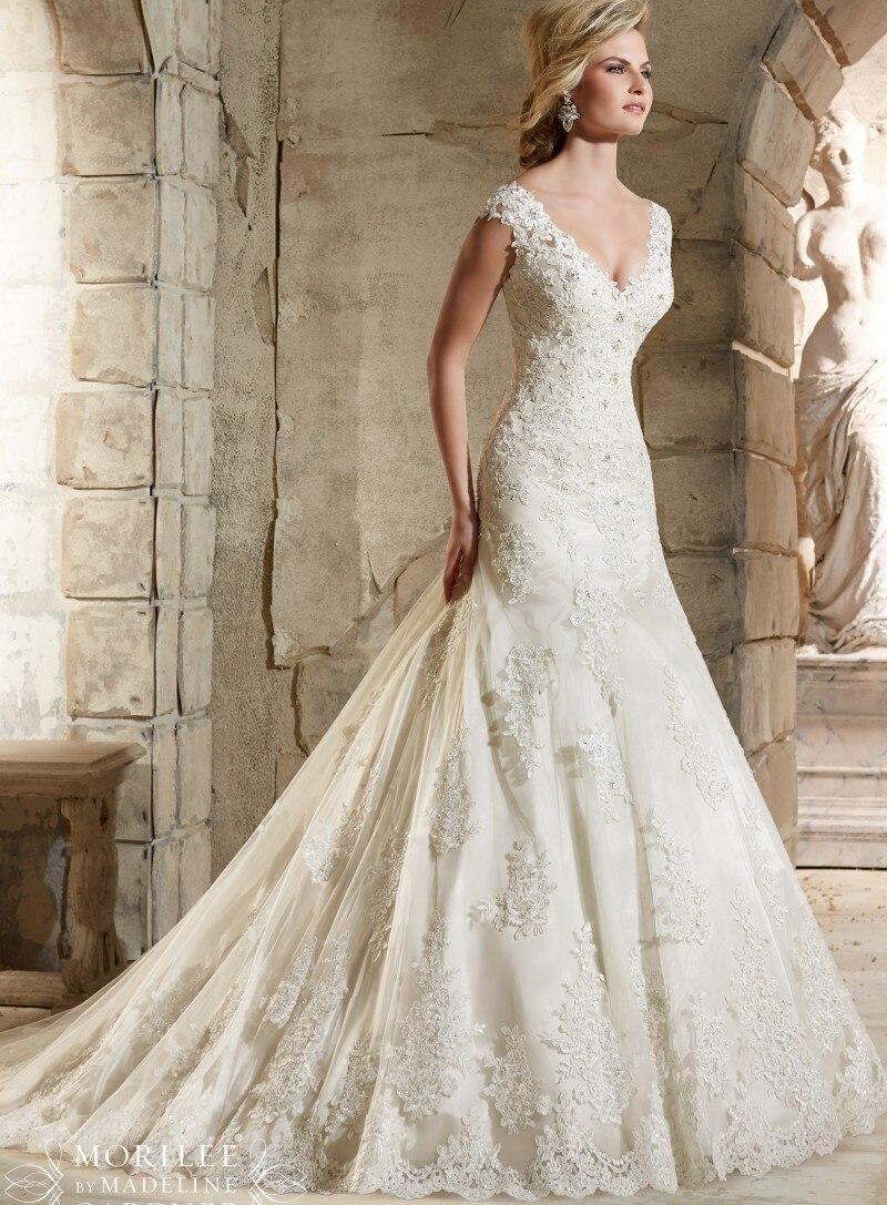 Vintage Mermaid Wedding Dresses Lace Appliques Bead Robe de Mariage ...