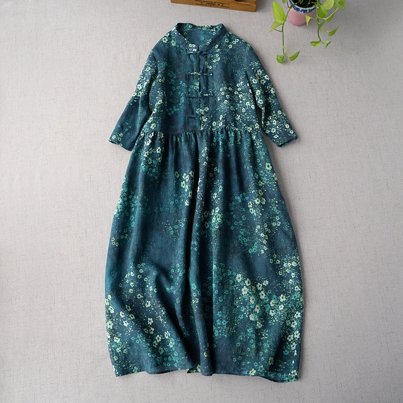 봄 가을 여성 캐주얼 브리프 느슨한 플러스 사이즈 중국 스타일 빈티지 버튼 편안한 물 씻어 라미 드레스-에서드레스부터 여성 의류 의  그룹 1