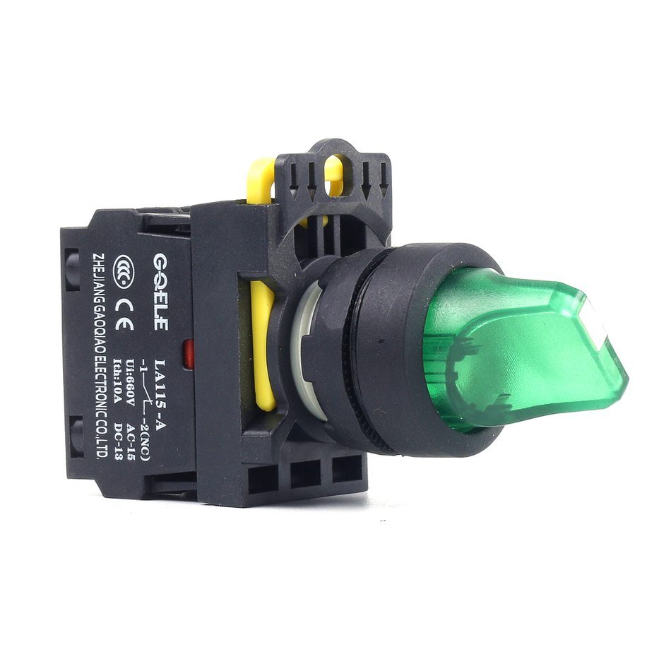 5 PCS Push button switch Selector switch Short handle 2-Position LED Momentary IP40 1NO 1NC 1N0+1NC 2NO 2NC LA115-A1-11XD-R31 3 2 position 22mm neck rotary switch 1 no 1 nc or 2no 2nc
