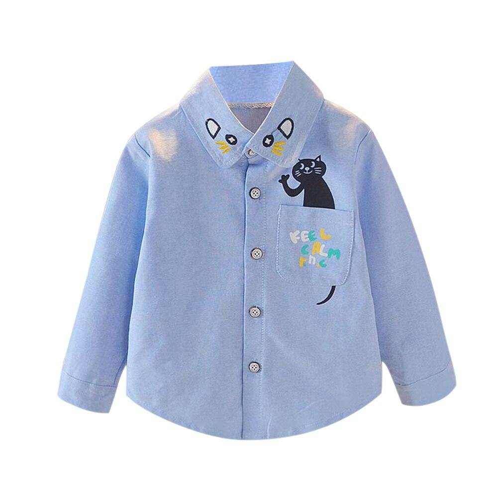 1 Pcs Kinder Kinder Hemd Katze Muster Nette Langarm Front Tasten Mode Kleidung 998 Jungen Kleidung Shirts