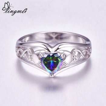 lingmei Claddagh Style Wedding Heart Jewelry For Women Multicolor & Blue Cubic Zircon Silver 925 Solitaire Ring Size 6 -13 Gift 3