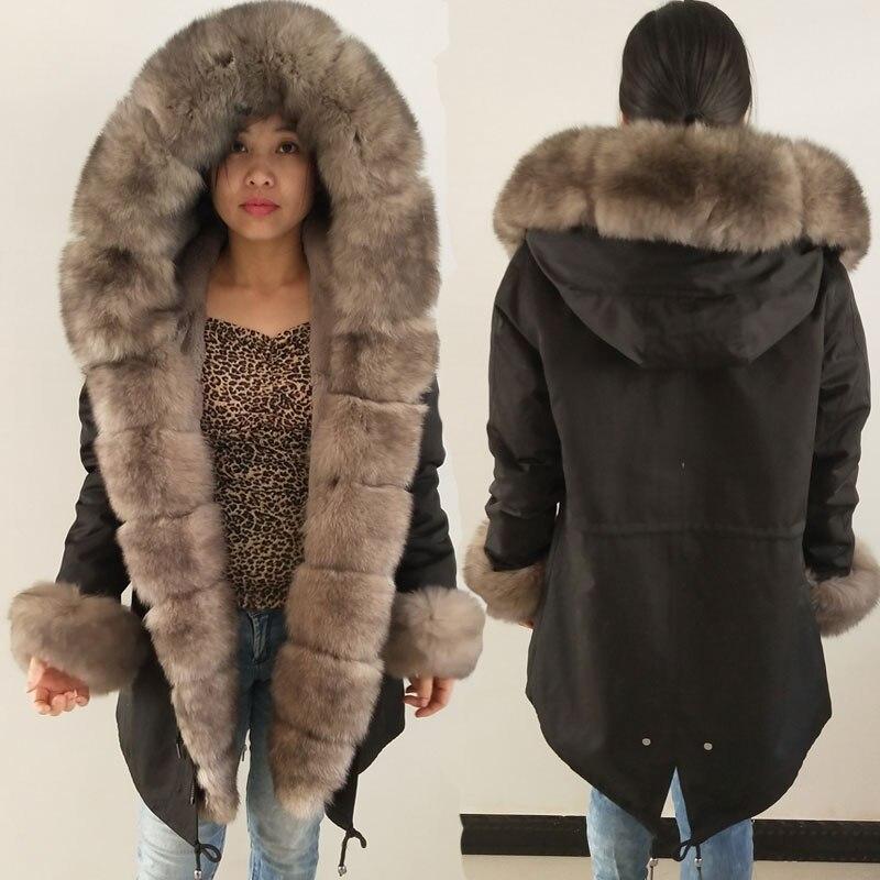 Fourrure coar parkas veste d'hiver manteau femmes parka big real fourrure de renard col naturel Rex De Fourrure De Lapin doublure survêtement 2018 nouveau