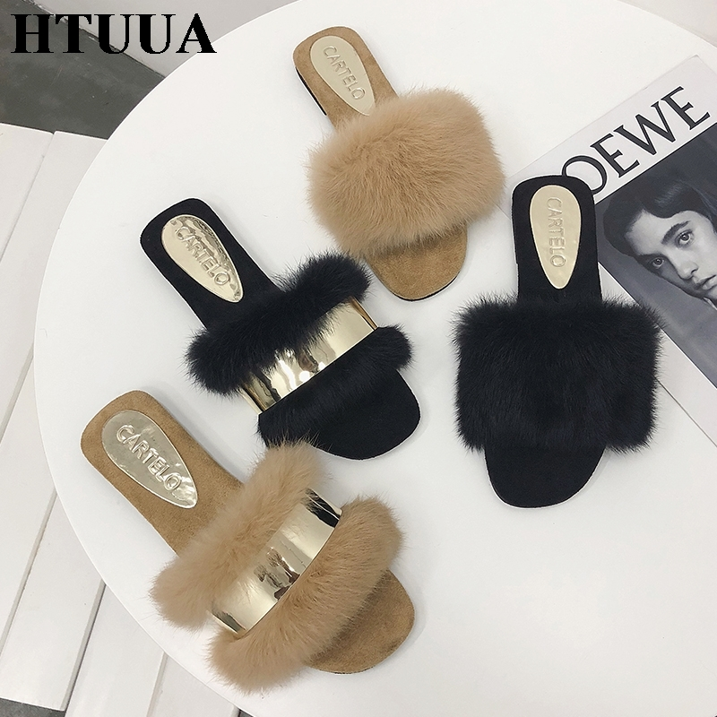 d01241f56 HTUUA Fluffy Fur Slippers Women Fashion Metal Bling Fur Slides Flat Flip  Flops Summer Winter Home Slipper Ladies Shoes SX1495-in Slippers from Shoes  on ...