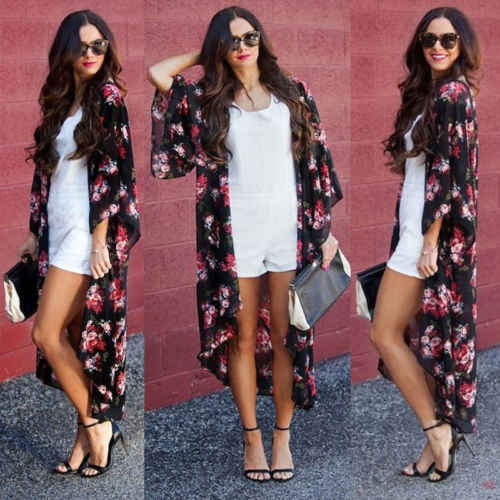 2019 Brand Womens Summer Floral Open Cape Casual Loose Blouse Boho Shawl Kimono Cardigan Summer Loose Print Shirt Women Clothes