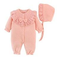 Одежда для новорожденных девочек, хлопковый комбинезон, комбинезон принцессы, кружевной комплект одежды для младенцев, комбинезон + шапочк...