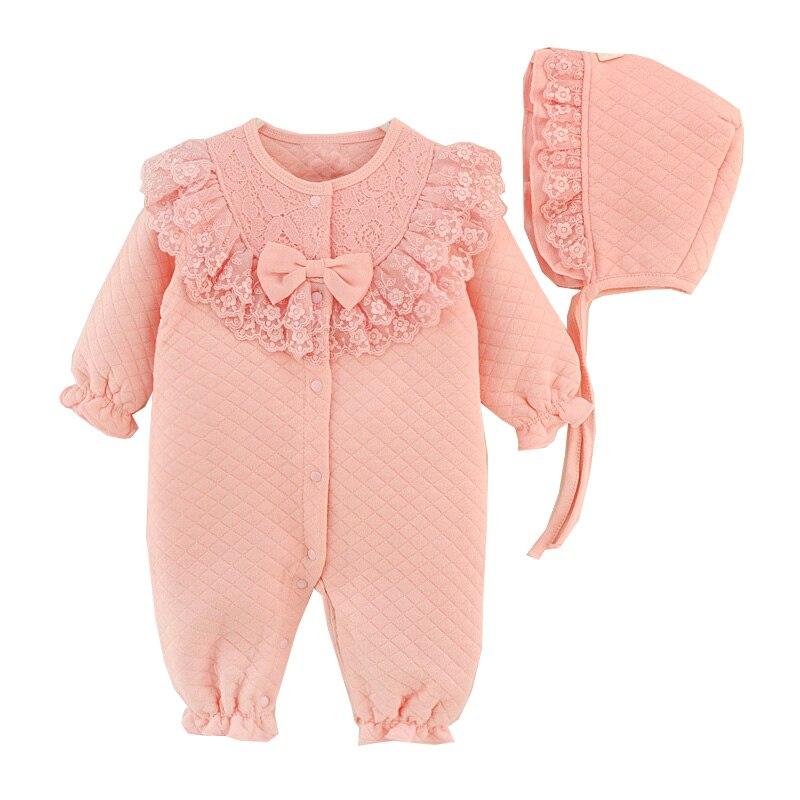 בגדי ילדה תינוק בן יומו סרבל כותנה התחרה נסיכת Rompers תינוק סט בגדי Romper + כובע 2 יח'\סט Roupas דה Bebes Menina