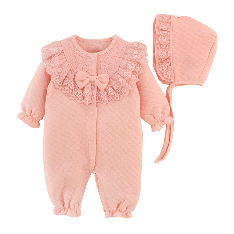 Newborn Baby Girl Clothes Cotton Coveralls Rompers Princess Lace Infant Clothing Set Romper+Hat  2pcs/set Roupas De Bebe Menina 2017 baby knitted rompers girls jumpsuit roupas de bebe wool baby romper overalls infant toddler clothes girl clothing 12m 5y