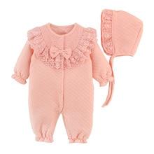 Newborn Baby Girl Clothes Cotton Coveralls Rompers Princess Lace Infant Clothing Set Romper+Hat 2pcs/set Roupas De Bebes Menina
