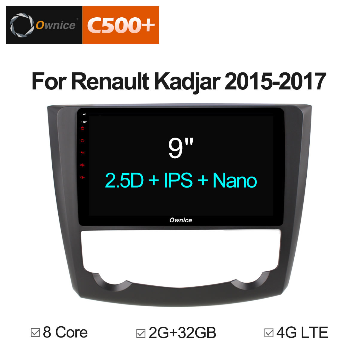 Ownice C500+ G10 RAM 2GB Android 8.1 for Renault Kadjar 2015 2016 - 2017 Car DVD Player Navigation GPS Radio 4G LTE DAB+ DVR special dvr without battery for ownice c500 car dvd and the dvd manufacture date must after 10th of april 2017 included 10th