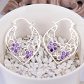 top quality Silver Plated & Stamped 925 flower hollow moon heart with purple stone earring women wedding trendy jewerly