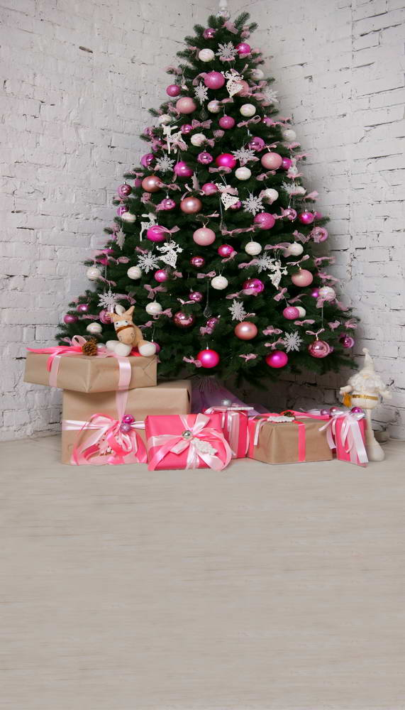 Fotografia white brick wall photo background Christmas tree and gifts for photo backdrop for photography studio photo shooting dark brown brick wall with white clock photography backdrops wedding background 200x300cm photo studio props fotografia