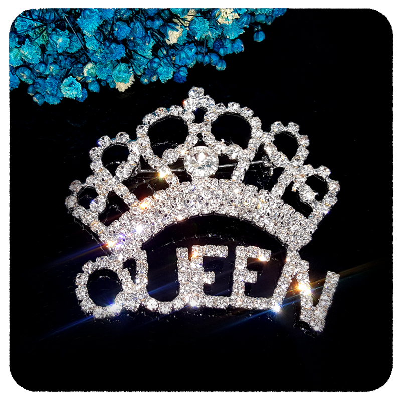 GRANDBLING New Arrival Blingbling Clear Crystal Queen Crown Brooch Jewelry
