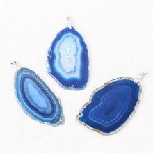 Natural Onyx Pendants Stone Multi Colorful Slice Irregular Agates Crystal Quartz Pendant DIY Necklaces