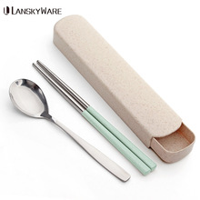 LANSKYWARE Portable Stainless Steel Dinnerware Set With Wheat Straw Handle Box Tableware Dinner For Children School Picnic