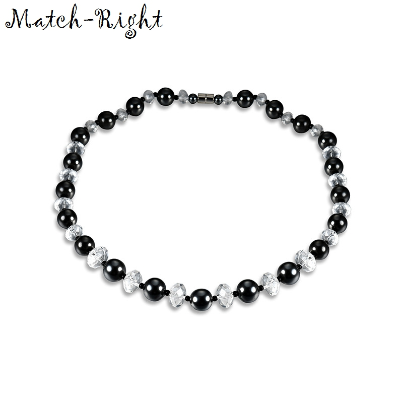 Health Energy Healing Black Hematite with Magnetic Beads Necklace