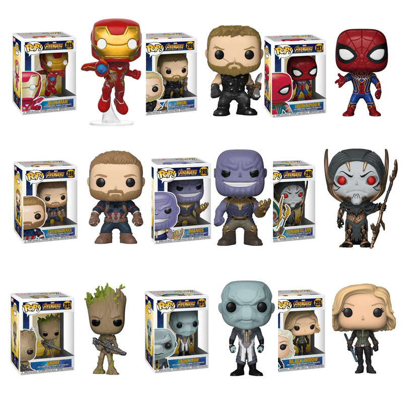 цена FUNKO POP The Marvel Avengers 3- Infinite War Spider-Man Groot Iron Man- Raytheon Action Figure Collectible Model Toy For Gift