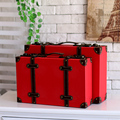 Vintage red suitcase sub-trunk props box antique suitcase retro finishing decoration