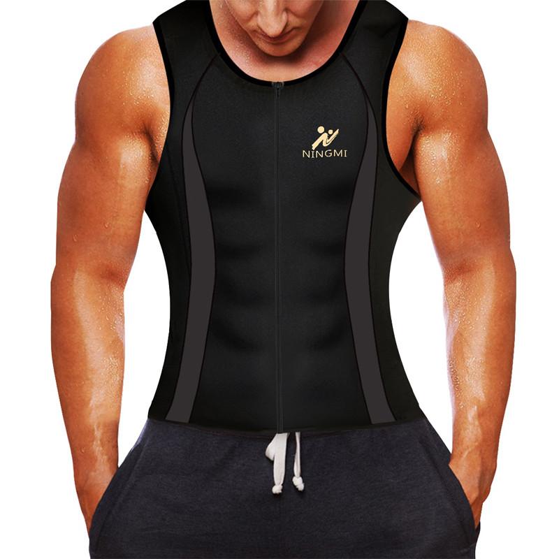 XL Men Hot Neoprene Workout Sauna Tank Top Zipper Waist Trainer Vest Weight Loss Body Shaper Compression Shirt Gym Clothes Corset by Aliver
