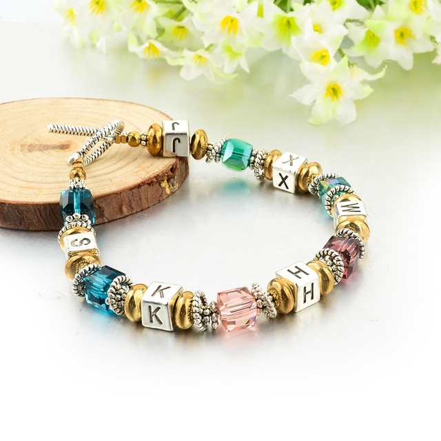 Silver Plated Square Colorful Murano Crystal Beads Bracelet