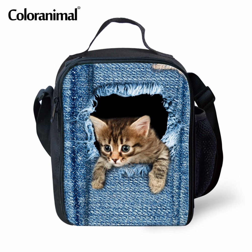Coloranimal 2018 Fashion Thermal Lunch Bags for KIds Cute 3D Animal Cat Blue Denim Children Lunch Boxes Boys Girl Insulated Tote
