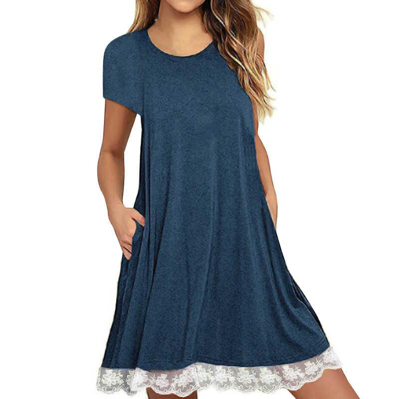 Anself/модное женское повседневное свободное мини-платье с кружевным подолом, хлопковое летнее платье с коротким рукавом, модель 2019 года, короткое платье-футболка с карманом для женщин