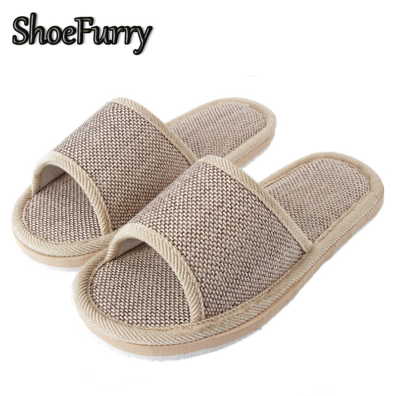ShoeFurry Women Natural Flax Home Slippers Indoor Shoes Breathable Mute Slipper Woman Beach Sandals Summer Female Linen Slippers