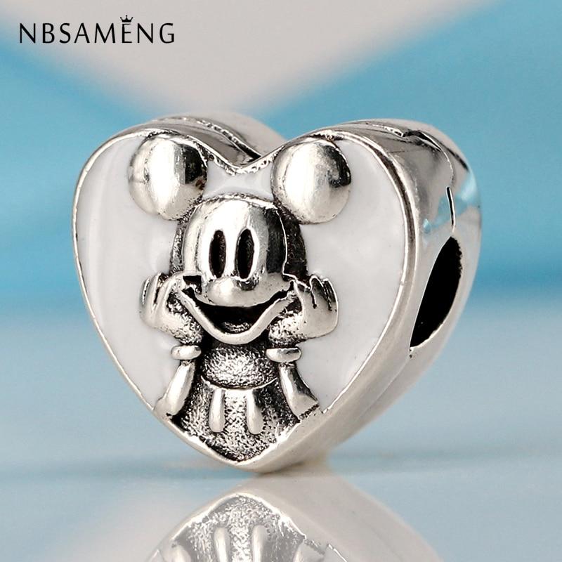 New 100% 925 Sterling Silver Cute Mouse Love Shape Clip Beads Fit Original Pandora Charm Bracelet Fashion DIY Jewelry