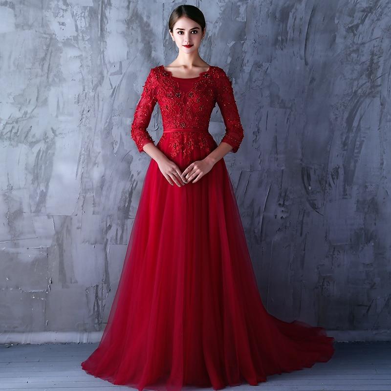 fc1f3142b Vestido Rojo Elegante Larga Largo De Noche Manga Vestidos zdqqZ7w