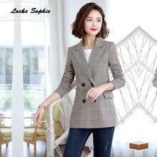 1pcs Womens Plus size Blazers coats 2019 Autumn cotton blend Splicing Single button Small Suits jackets ladies Skinny