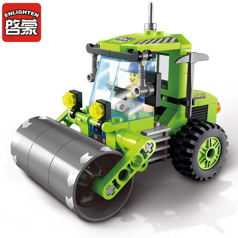 1104 ENLIGHTEN City Construction 102Pcs Road Roller Truck Model Building Blocks Figure Toys For Children Compatible Legoe Bricks 1700 sluban city police speed ship patrol boat model building blocks enlighten action figure toys for children compatible legoe