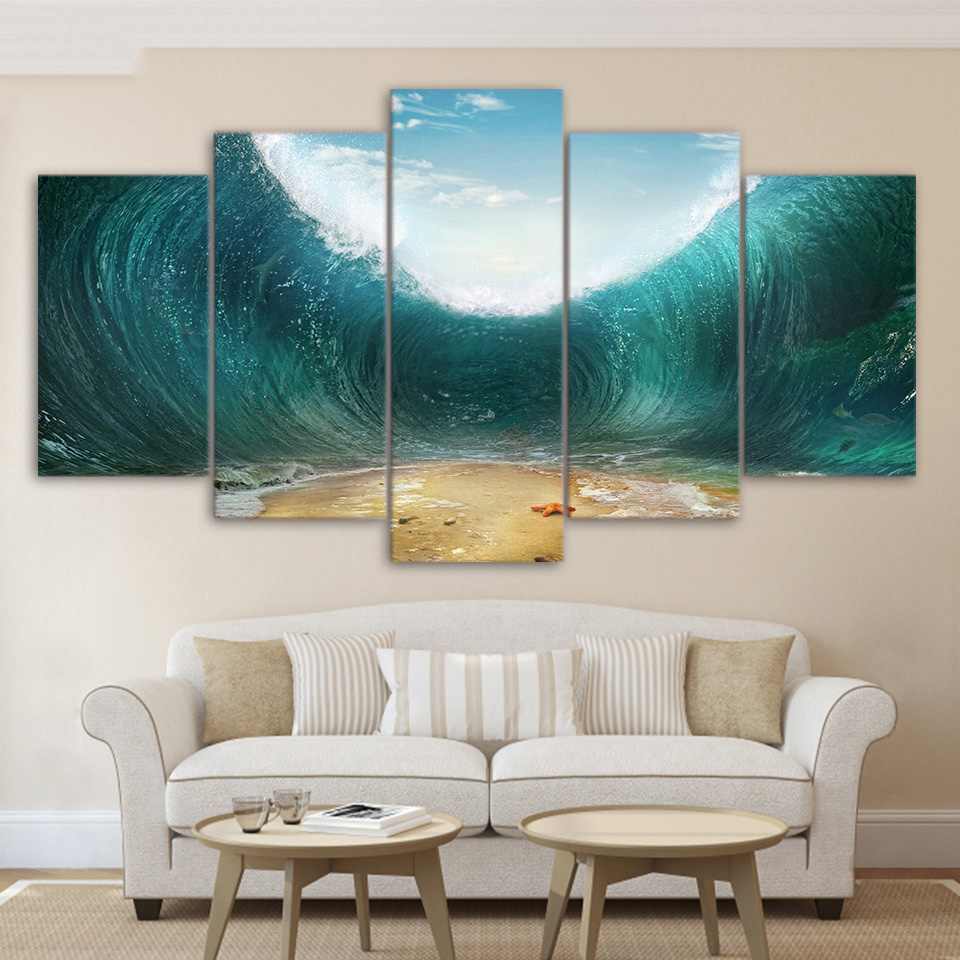 Canvas Painting Wall Decorations Bed Room 5 Piece Canvas Printed Decoration Wall Art Special Ocean Waves Picture Posters Prints