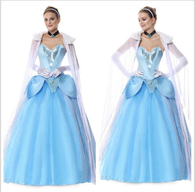 9e040b4cd2 Halloween Elsa Queen Anna Princess Cosplay Costume Blue Fairy Tales Girls  Party Gown Dress Fancy Dress Adult Women