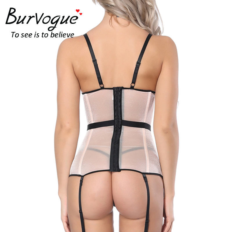 6c98028bf0 Burvogue New Sexy Corset and Bustier with cup Girdle Set with Straps Belt  Breathable Fabric Transparent Overbust Corset Lingerie-in Bustiers   Corsets  from ...