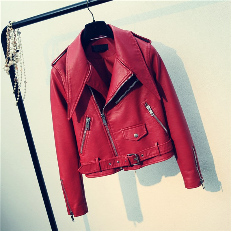 New Arrival 2019 brand Winter Autumn Motorcycle leather jackets red leather jacket women leather coat slim PU jacket Leather
